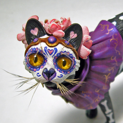 OOAK Day of the Dead Sugar Skull Halloween Cat Art Doll Sculpture by Brutal Sun