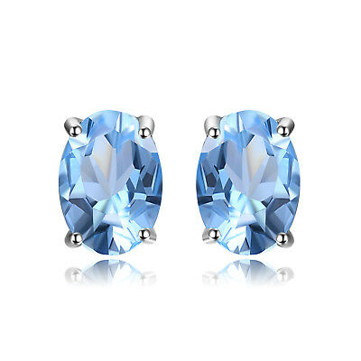 JewelryPalace New Natural Sky Blue Topaz Earrings Stud Solid 925 Sterling Silver