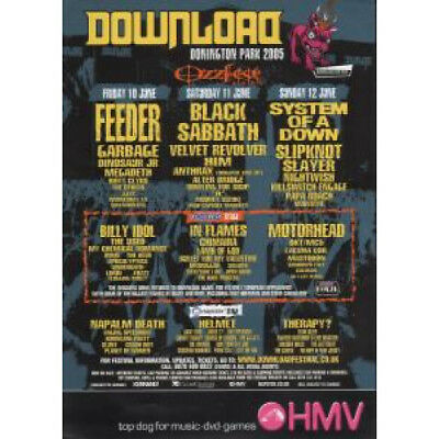 DOWNLOAD/OZZFEST 2005 S/T FLYER UK Hmv 2005 A5 Double-Sided Flyer With Festival