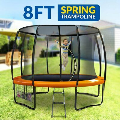 New 8ft Trampoline Free Ladder Spring Mat Net Safety Pad Cover Round Enclosure