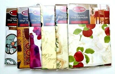 Flannel Back Vinyl Tablecloth waterproof Floral Assorted Colors and Size