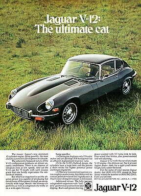 Jaguar E-type V12 advert poster / print