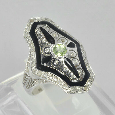 Nice Charming Quality Solid 925 Sterling Silver Naturl Peridot & Diamond