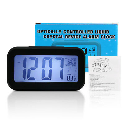Digital Snooze Electronic LED Alarm Clock Backlight Time Calendar Thermometer LB