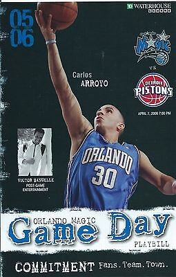 ORLANDO MAGIC v DETROIT PISTONS NBA GAME DAY PLAYBILL 7 APRIL 2006