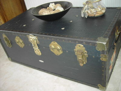 Large Antique Vintage Steamer Travel Trunk/chest/coffee Table/blanket Box