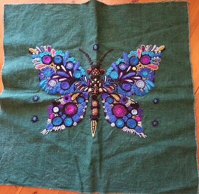 Beautiful Hand Stitched Wool Butterfly Tapestry For Cushion or Chair Cover Linen