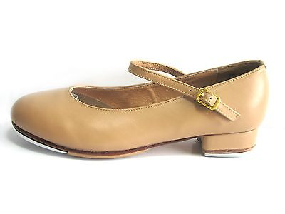 New Girls Dance Shoes Genuine Cow Leather Tan Tap Shoes with Buckle and Strap