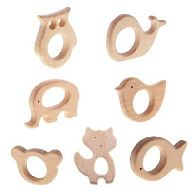 7 Pieces Natural Wooden Cute Animal Shape Baby Teether Toy Shower Gift