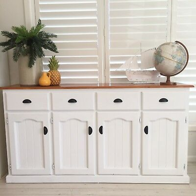 Large Gorgeous White Sideboard Shabby Chic French Provincial Buffet Cupboard