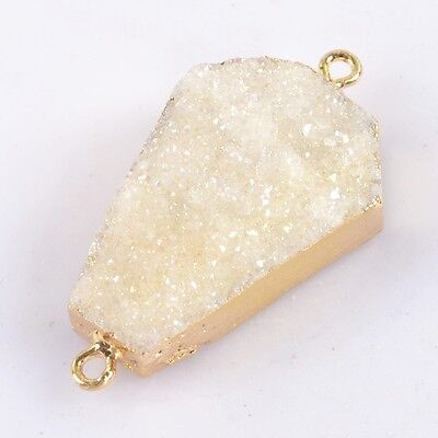 Uneven Natural Agate Druzy Titanium AB Connector Gold Plated B037580
