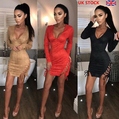 Women Sexy Low Cut Long Sleeve Bodycon Lace Up Side Split Short Party Tude Dress