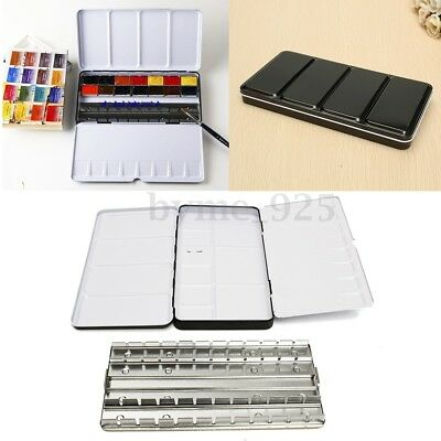 48 Half Pans Colors Solid Watercolor Empty Case Art Drawing Paint Iron Box