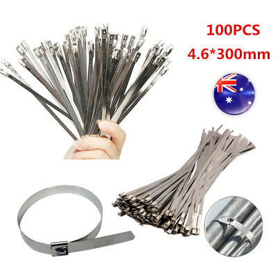 100PC 4.6x300mm Stainless Steel Exhaust Wrap Coated Locking Cable Zip Ties