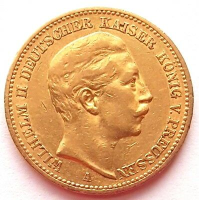 1889-A Germany Prussia Gold 20 Twenty Marks Mark Coin
