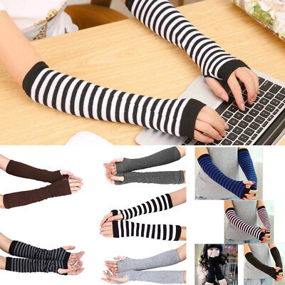 Women Girls Soft Knitted Wrist Arm Warmer Long Sleeve Fingerless Gloves Striped