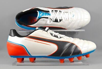 Puma 102697-03 Universal FG adults football boots - Wht/Blk/Blu - UK 8.5