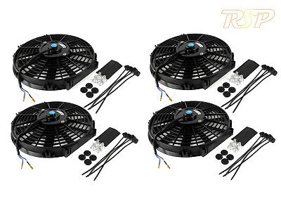 "4 x 14"" Slim Universal Electric Radiator / Intercooler Cooling Fan & Fitting Kit"