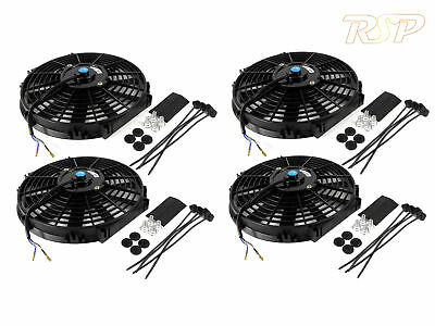 "4 x 12"" Slim Universal Electric Radiator / Intercooler Cooling Fan & Fitting Kit"