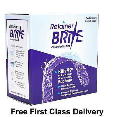 Retainer Brite 36 Tablets, Mouth guard Denture Cleaner Plaque remover - 1 Box