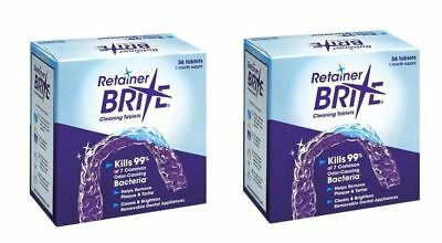 Retainer Brite 36 Tablets, Mouth guard Denture Cleaner Plaque remover - 2 Boxes