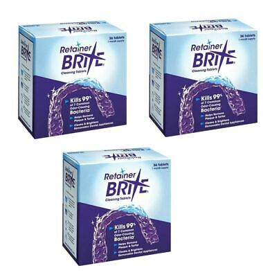 Retainer Brite 36 Tablets, Mouth guard Denture Cleaner Plaque remover - 3 Boxes