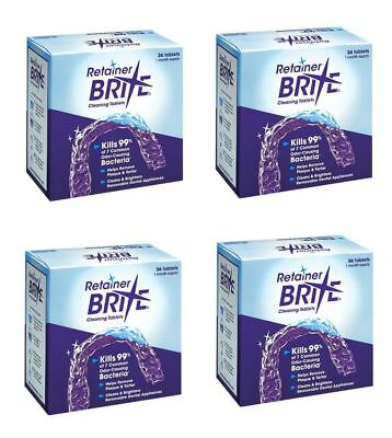 Retainer Brite 36 Tablets, Mouth guard Denture Cleaner Plaque remover - 4 Boxes