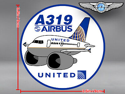 UNITED AIRLINES UAL AIRBUS A319 A 319 PUDGY DECAL / STICKER 3.5x3.5 in / 9x9 cm