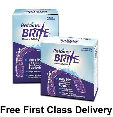 Retainer Brite 36 & 96 Tablets Mouth guard Denture Dental Cleaner Plaque remover