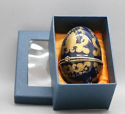 Beautiful Hand Painted Gold On Royal Blue Porcelain Egg Container Vintage Boxed
