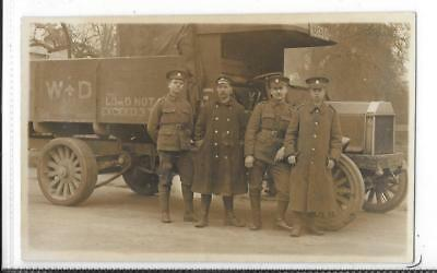 WW1 Photographic Postcard Army Service Corps 4 Soldiers with Motor Lorry