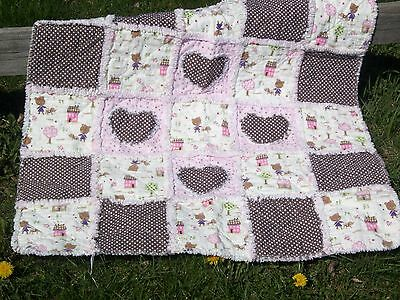 Pink and Brown Baby Girls Hearts  Rag Quilt *NEW*
