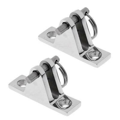 2PCS Boat Bimini Top Deck Hinge Marine 316 Stainless Steel w/ Removable Pin