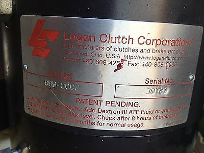 Logan Clutch SBB-2002 Splined shaft hydraulic actuated, lightly used