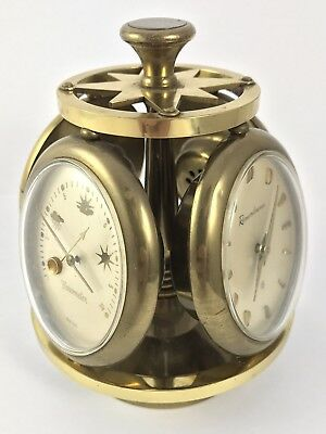 Lovely Brass Four Face Compendium Clock Barometer Thermometer Hydrometer