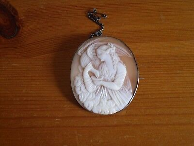 large victorian shell cameo brooch, Leda and the swan