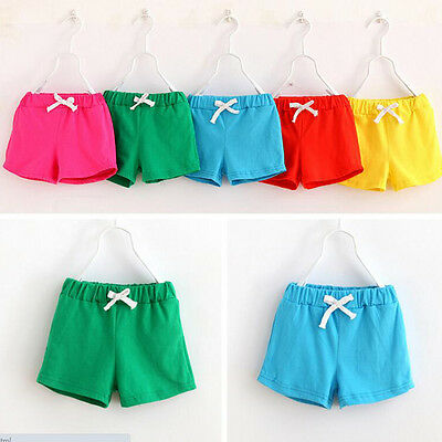 Summer Kids Cotton Shorts Baby Boys Girls Candy Colours Clothing Shorts FT