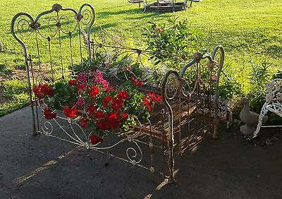 Antique Ornate Cast Iron Shabby Baby / Toddler Bed