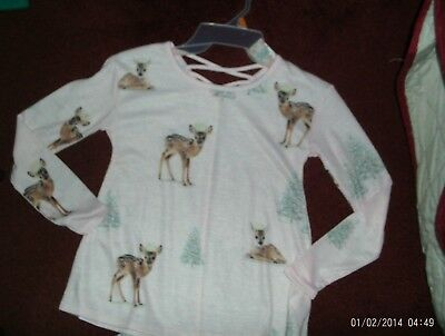 nwt-- justice- size 8  pink with a deer print --light weight sweat top