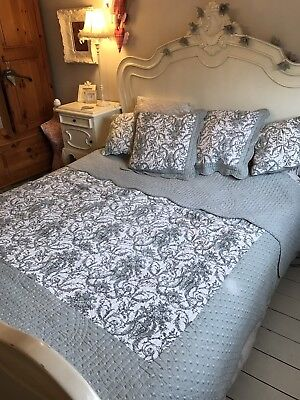 Vintage Style Grey Toile Bedspread Throw & Cushions Shabby Chic