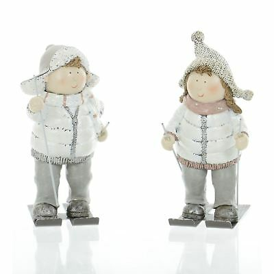 19cm Children Skiing Figures Christmas Xmas Boy Girl Home Crimbo Ornaments