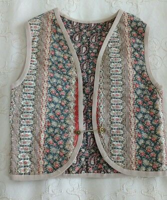 Vintage Quilted Waistcoat Bolero Floral Paisley Print Ethnic Peasant Boho 10