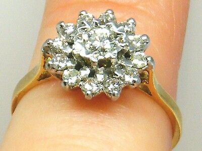 18CT GOLD 18K Gold Vintage Sparkly 0.40ct Diamond Cluster Engagement ring size L