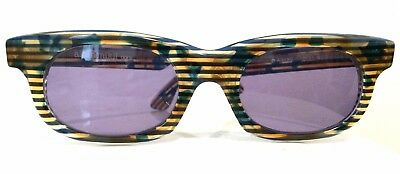 Vintage Sunglasses ALAIN MIKLI PARIS Blue Brown Striped A.M.89 Hand Made Paris