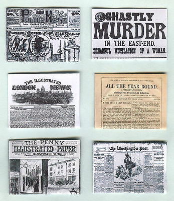 Six Hand-Made Dolls' House 1/12Th Scale Victorian Newspapers