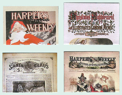 Four Hand-Made Dolls' House 1/12Th Scale Victorian Christmas Newspapers
