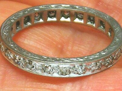 18ct Gold 18k Gold Old Cut Diamond Full Circle Eternity Antique ring size O