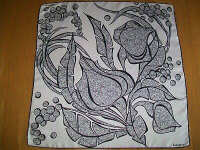 Jacqmar. Gorgeous Monochrome Abstract Botanical Design Vintage Silk Scarf