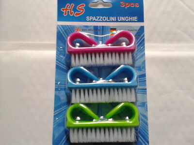Lot 3 Brosses à Ongles Et Mains Couleurs