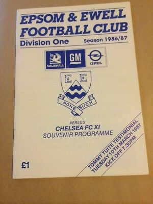 86/87 EPSOM & EWELL v CHELSEA TESTIMONIAL FRIENDLY PROG.GEORGE BEST GUEST PLAYER